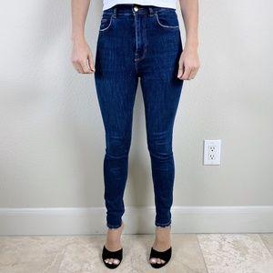 Zara High Rise High Waist Skinny Jeans Dark Wash